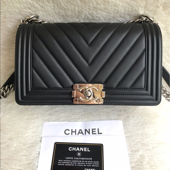 763a4297f9a7 CHANEL Bags | Sold Chevron Le Boy Medium Black Calfskin | Poshmark